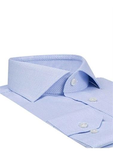 D'S Damat D'S Damat 9Hf02Kd14185 Düz Yaka Uzun Kol Slim Fit Desenli Erkek Armürlü Gömlek Mavi